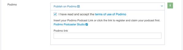 podimo publishing terms of use and podimo link