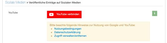 mit YouTube Konto verbinden