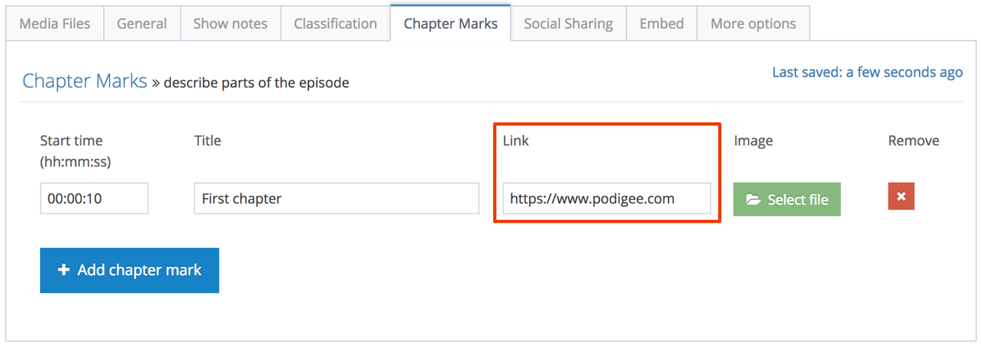 Add links to chapter marks