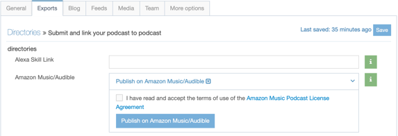 amazon music in exports tab