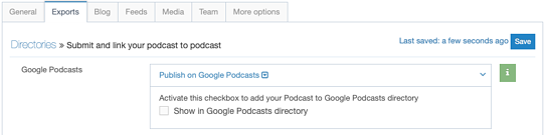 google podcast export tab podigee