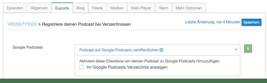 google podcasts einreichen exporte reiter