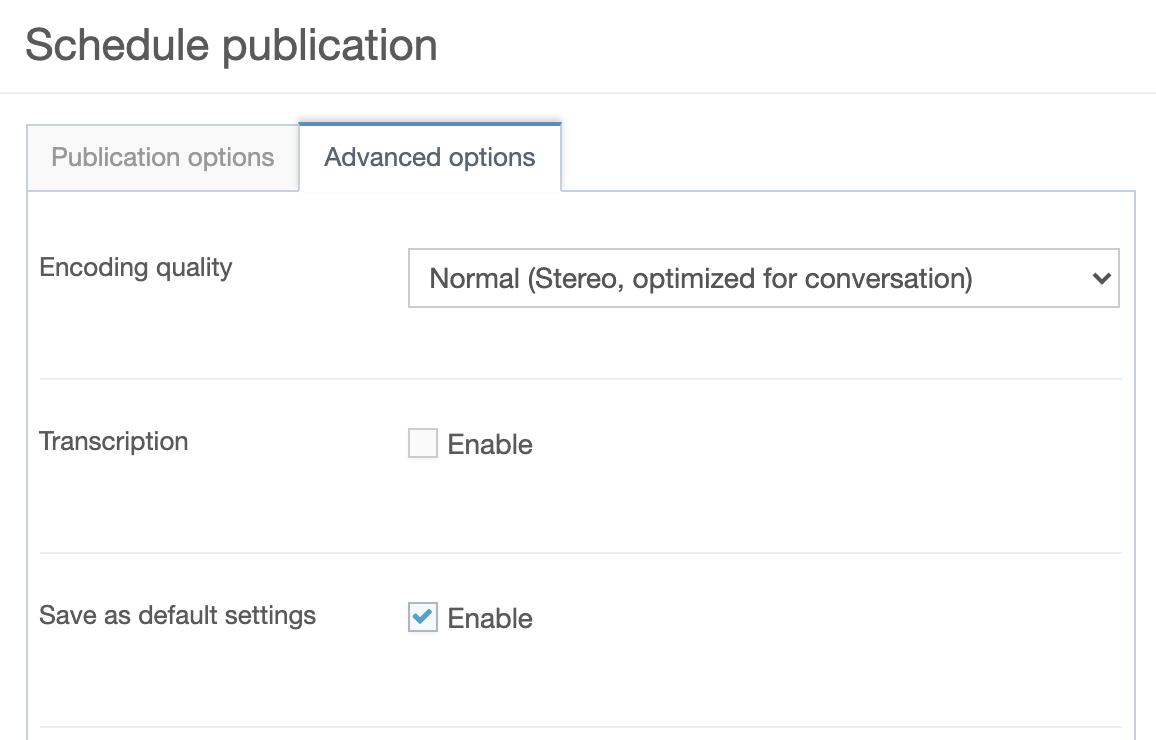 advanced publication options (part 1)