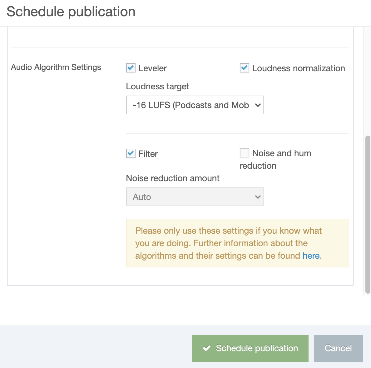 advanced publication options (part 2)