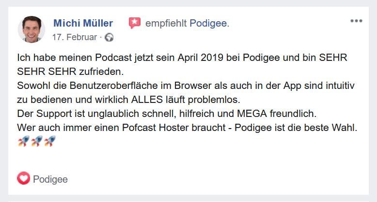 Empfehlung Podigee Facebook